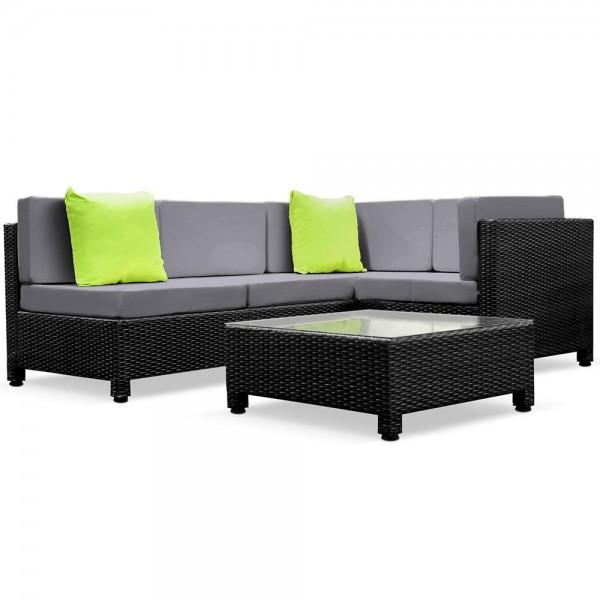 6 Pcs Brown Wicker Rattan 5 Seater Outdoor Lounge Set Beige