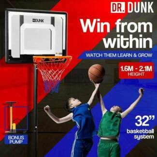 Adjustable Basketball Stand System Kids Hoop Portable Height Rim Rin